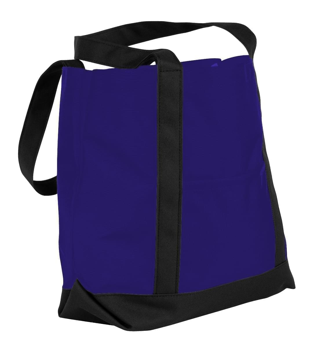 USA Made Nylon Poly Boat Tote Bags, Purple-Black, XAACL1UAYC