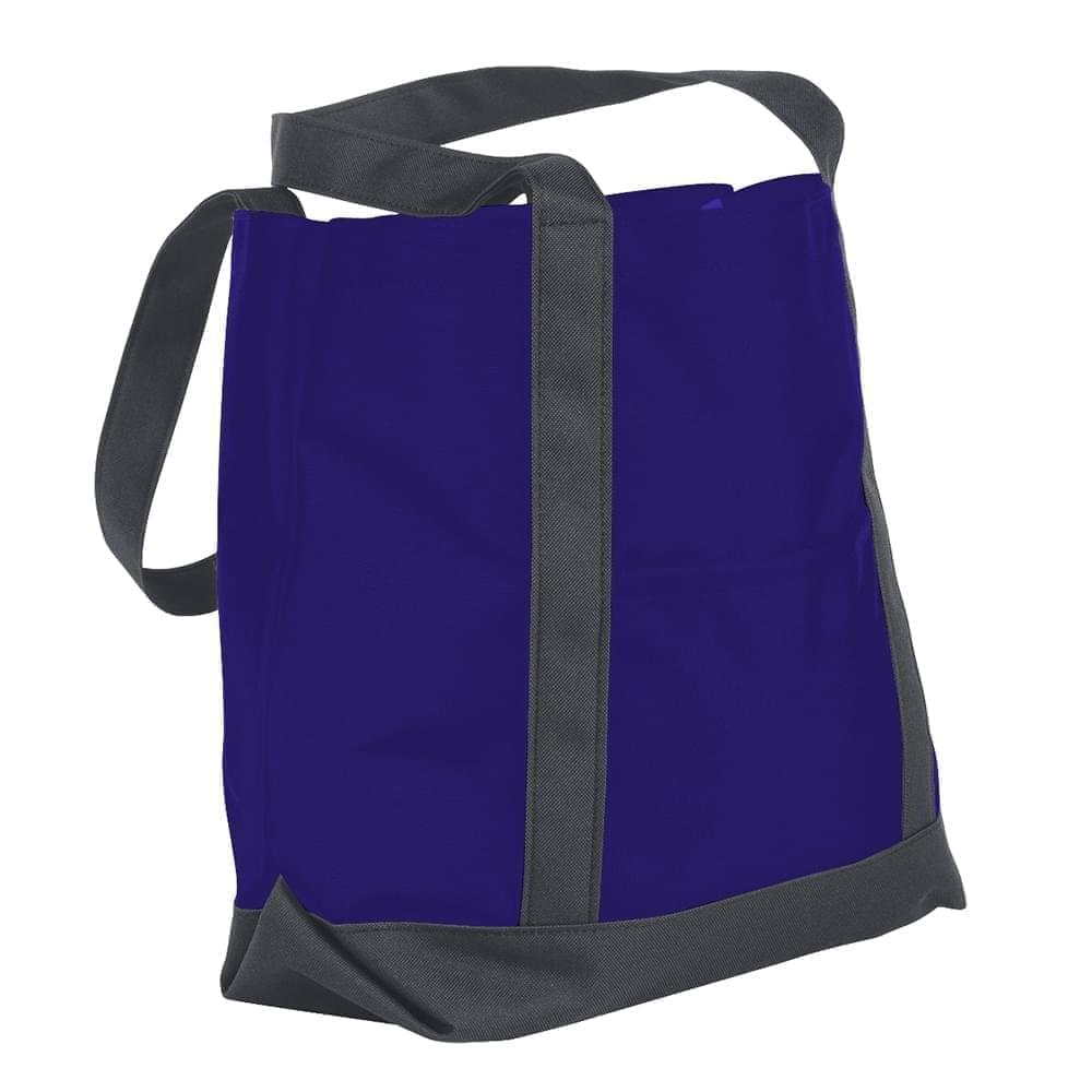 USA Made Nylon Poly Boat Tote Bags, Purple-Graphite, XAACL1UAYF