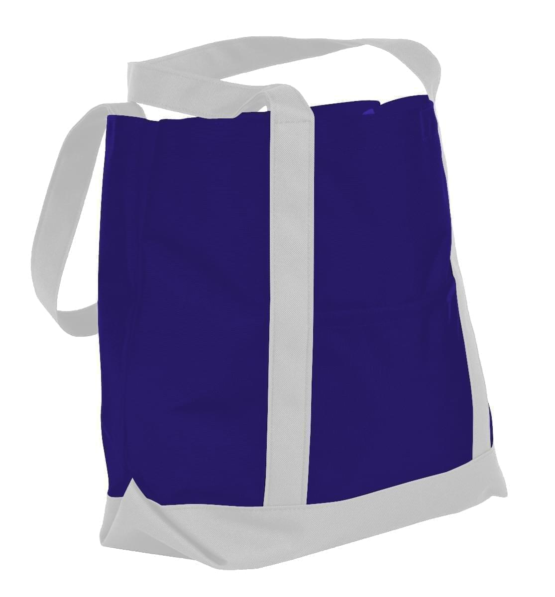 USA Made Nylon Poly Boat Tote Bags, Purple-White, XAACL1UAYP