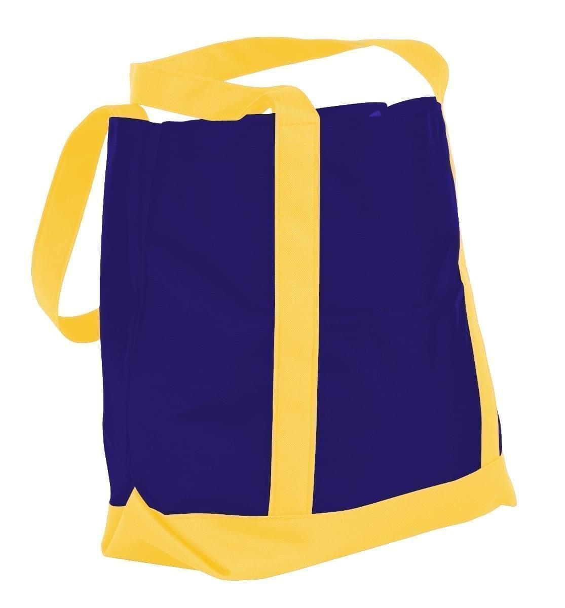 USA Made Nylon Poly Boat Tote Bags, Purple-Gold, XAACL1UAYQ