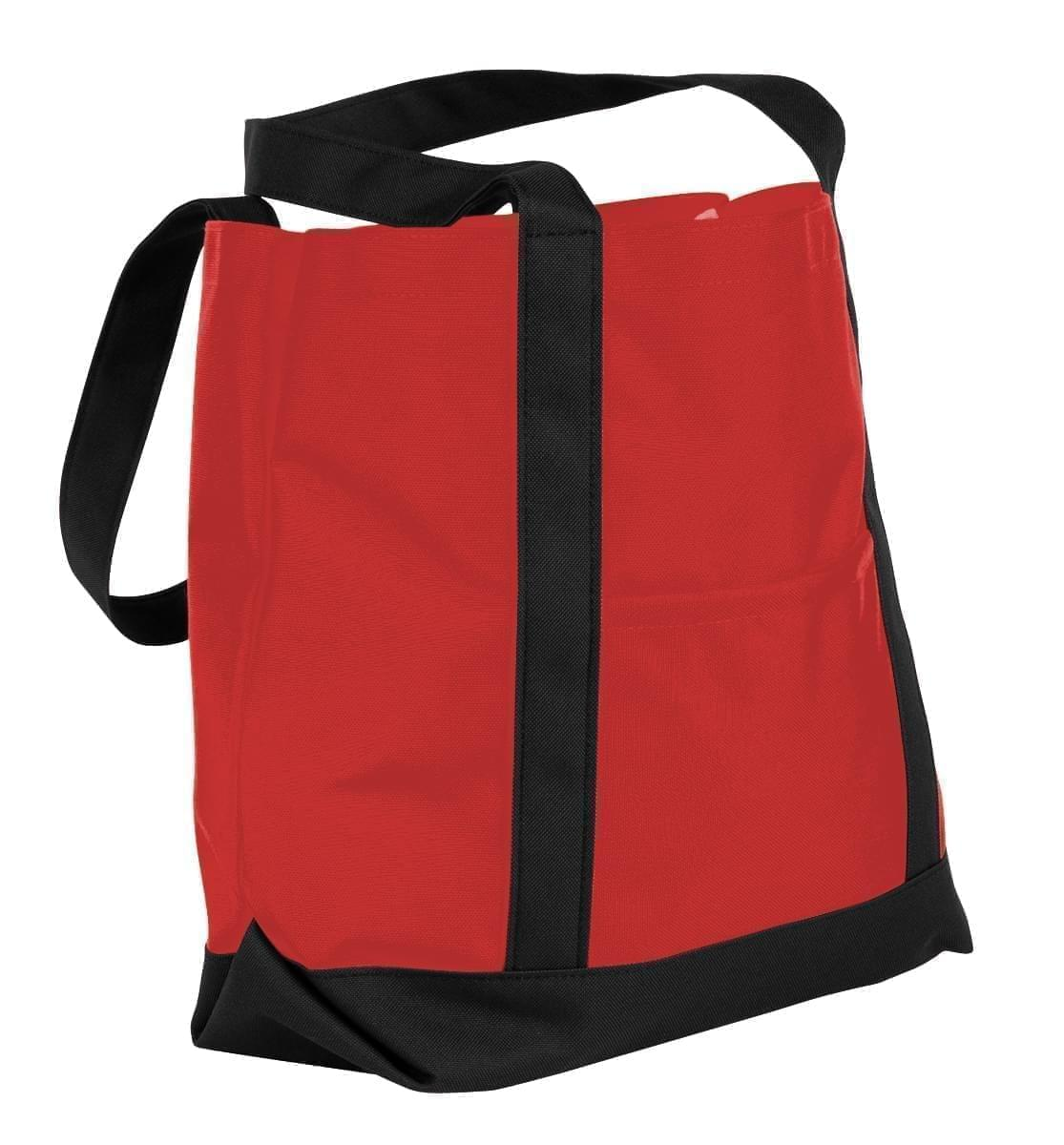 USA Made Nylon Poly Boat Tote Bags, Red-Black, XAACL1UAZC