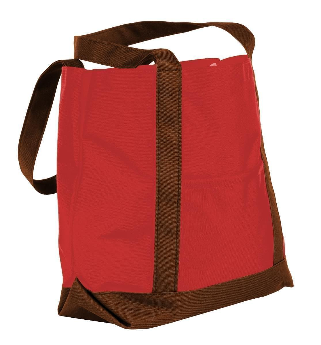 USA Made Nylon Poly Boat Tote Bags, Red-Brown, XAACL1UAZD