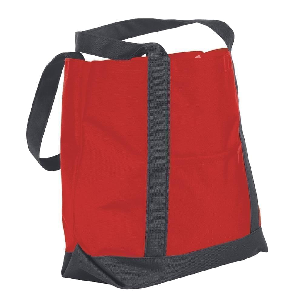 USA Made Nylon Poly Boat Tote Bags, Red-Graphite, XAACL1UAZF
