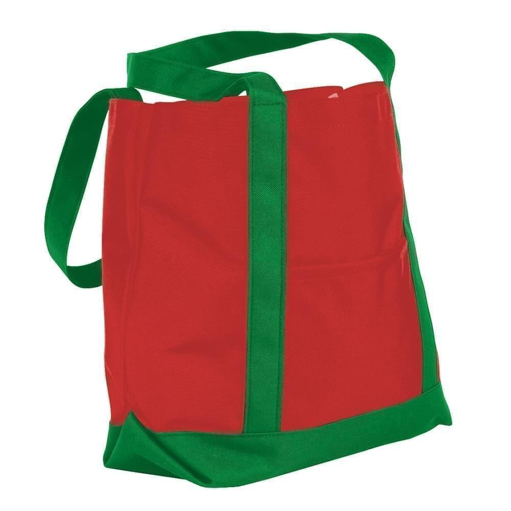 USA Made Nylon Poly Boat Tote Bags, Red-Kelly Green, XAACL1UAZH