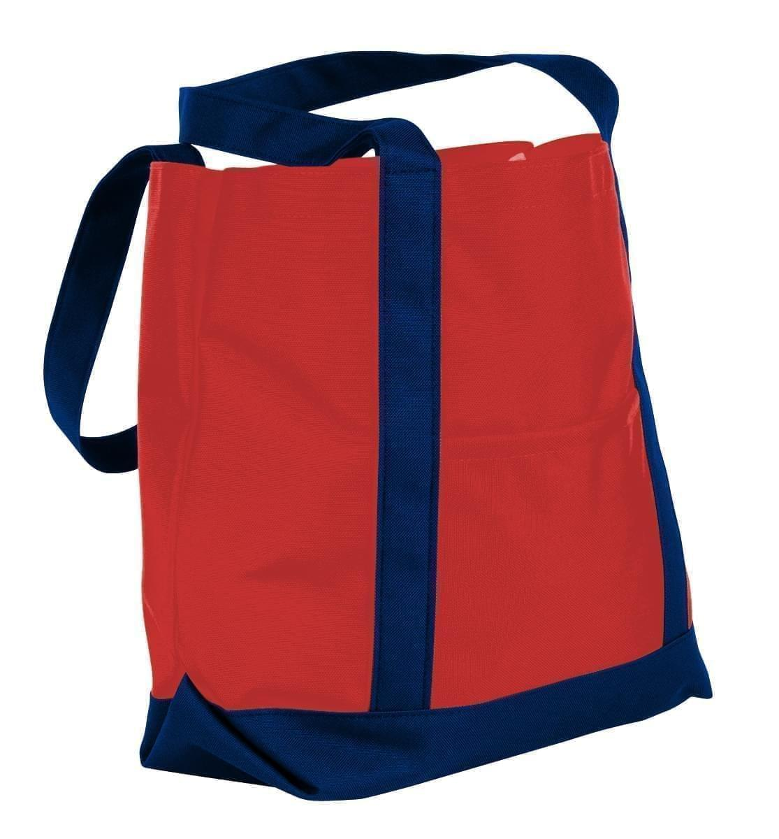 USA Made Nylon Poly Boat Tote Bags, Red-Navy, XAACL1UAZI