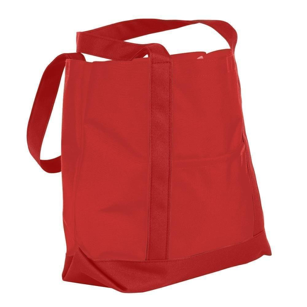 USA Made Nylon Poly Boat Tote Bags, Red-Red, XAACL1UAZL