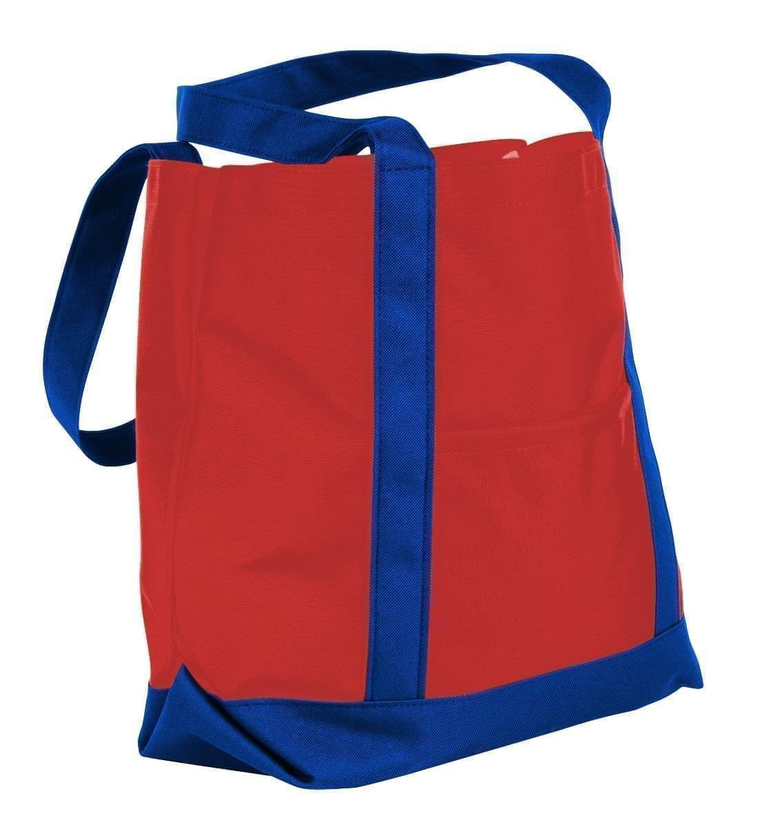 USA Made Nylon Poly Boat Tote Bags, Red-Royal Blue, XAACL1UAZM