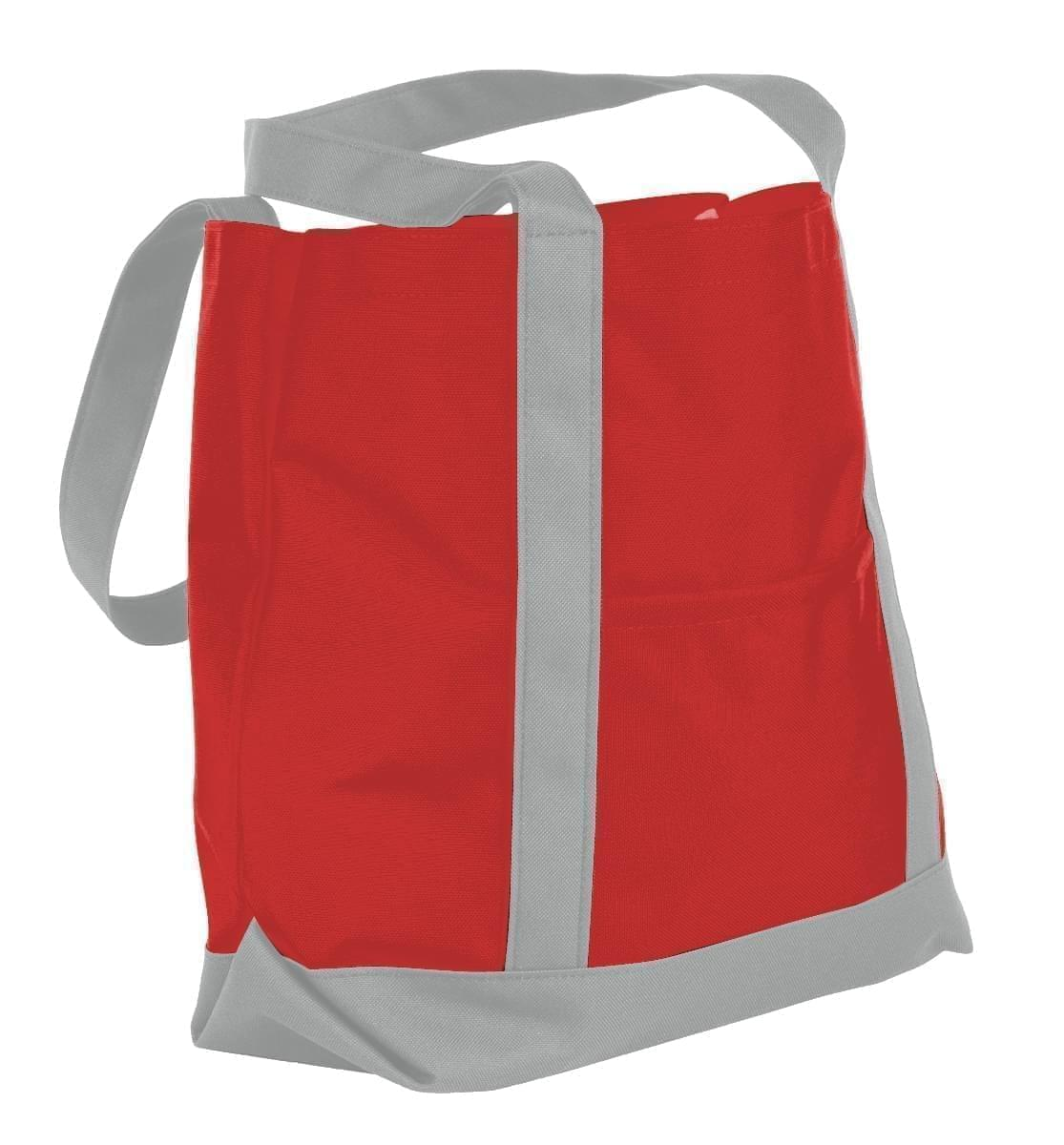 USA Made Nylon Poly Boat Tote Bags, Red-Grey, XAACL1UAZN