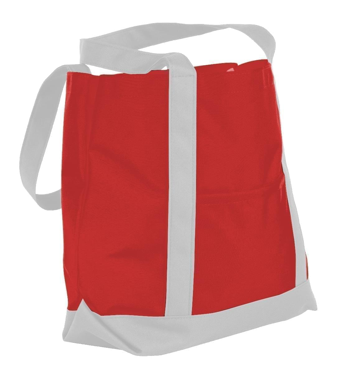 USA Made Nylon Poly Boat Tote Bags, Red-White, XAACL1UAZP