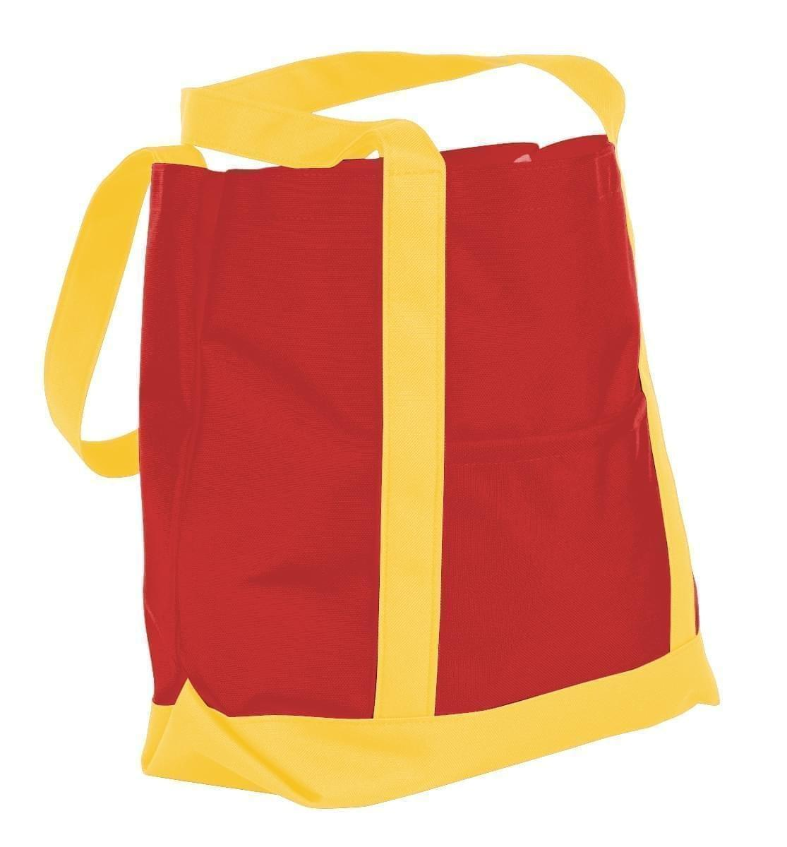 USA Made Nylon Poly Boat Tote Bags, Red-Gold, XAACL1UAZQ
